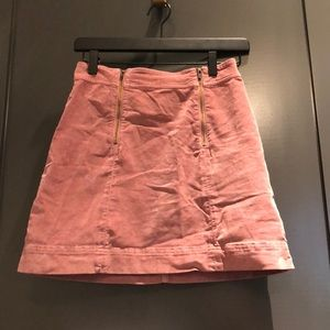 Madewell pink suede mini skirt